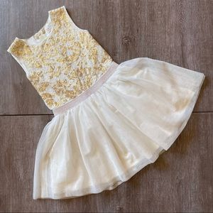 1989 Place Girl's Cream Gold Sequined Fit And Flare Sleeveless Formal Dress Sz 6